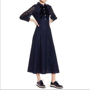 Halogen X Atlantic Pacific Navy Lace Midi Dress